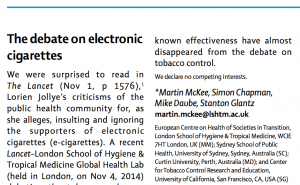 Click to view letter on The Lancet web site
